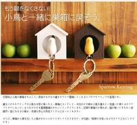Love birds Birdhouse Keychain DUO Sparrow bird Key Ring Two Birds Novelty Home Decoration valentines