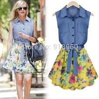summer sleeveless womens dresses,vestido chiffon lapel shirt dress,denim shirt patchwork belted chiffon print dress,ropa mujer