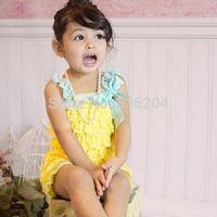 Yellow with Aqua Petti Romper-Birthday Girl Lace Romper Cake Smash