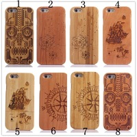 100pcs 100% Natural Bamboo and Wooden Case For iphone 6 4.7 inch,Real Wood Bamboo Carving Hard Cover For iphone 6,Free shipping