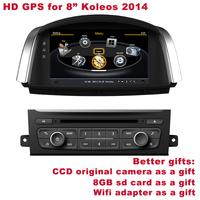 "Free Shipping Better HD 8"" Koleos 2014 Radio Car Stereo DVD Player GPS Navigation BT TV DVR WIFI 3G Better Service+Better Gifts"