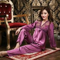New Spring Women pajamas lace long-sleeved V-neck pyjamas female silk tracksuit sleepwear 8991