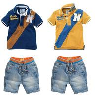 Brand Design Baby Boy Set 2015 Causal Boys Shirts+Short Jeans Children Clothing Sets Handsome Kids Clothes C30