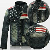 2015 New American Flag Jeans Jacket For Men Fashion Motorcycle Jeans Short Jacket Do Old Jeans Denim Coat