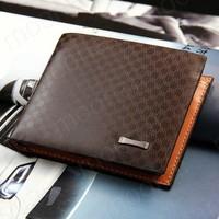 Free Shipping 2015 Hot Sale Genuine / PU Leather Plaid Wallet Male Bag Brand Men Wallets Handbag Purse