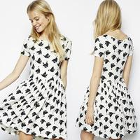 1404 eBay Europe and the new girl loving doves full printing Institute wind short sleeved fold dress