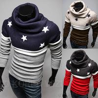 2015 new high collar men sweater mens sleeveless cardigan sweaters pentagram embroidery
