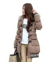 2014 winter women Wadded jacket female medium-long plus size XL lady thickening tooling casual down wadded coat khaki parka