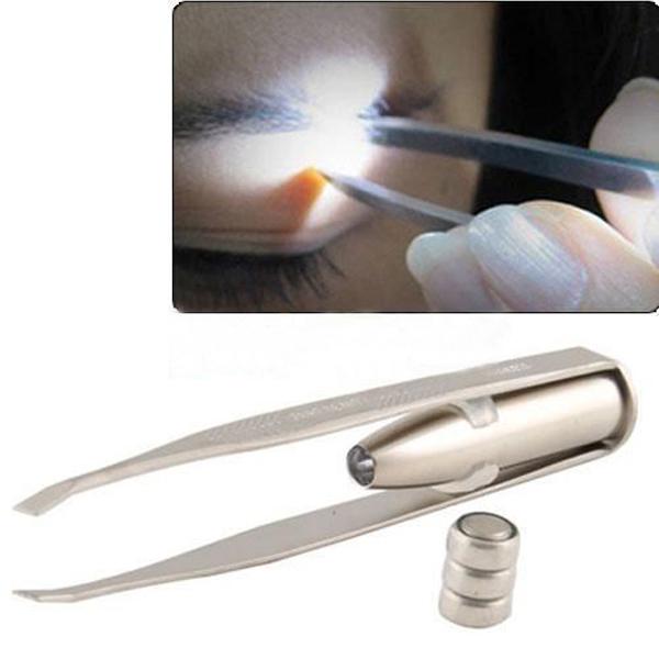 Free Shipping New Stainless Steel LED Light Eyebrow Eyelash Tweezers Make Up Tool + 3x AG3 Battery(China (Mainland))