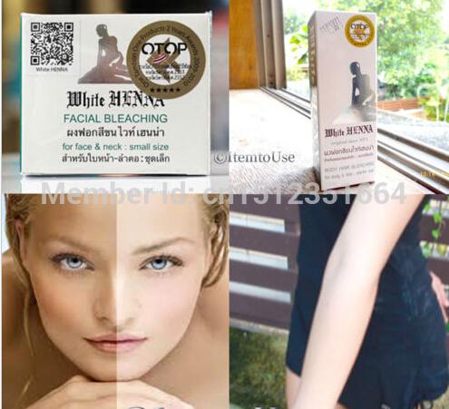 White Henna Facial Bleaching Lightening Dark Skin Whitening Cream Face & Body Free Shipping(China (Mainland))