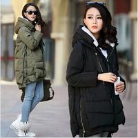 2015 new women Europe style fashion loose medium long autumn winter plus size down parkas lady don coat hot #23323