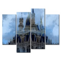 3 Piece Wall Art Painting Cinderella Castle With Blue Roof In White Fog Disneyland Print On Canvas The Picture City 4 5 Pictures