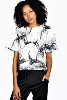 2015 Spring New Arrival Fashion Women Marble Texture Printed Short Sleeve Chiffon Shirts Lady Elegant Short Blouses Brand shirts