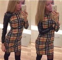 Sales! New arrival 2014 Bodycon Dresses Plaid Dress Long Sleeve Pencil Vestidos Summer Short Dress Plus size