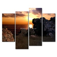 3 Piece Wall Art Painting Sunset On The Beach Rocks Picture Print On Canvas Seascape 4 5 The Picture Home Decor Oil Prints