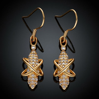 KZCE017-B New Statement Drop Earrings Jewelry 18K Yellow Gold Plated Crystal Beads Earrings Wholesale