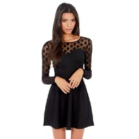 Wholesale new elegant polka dot print women casual winter dress vestido rendado 2015 autumn vintage party dress black