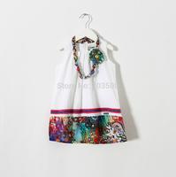 New Girls Dresses Summer With Necklace  Kids Brand National Vest Dress Cotton Clothing 6 pcs/lot,Wholesale
