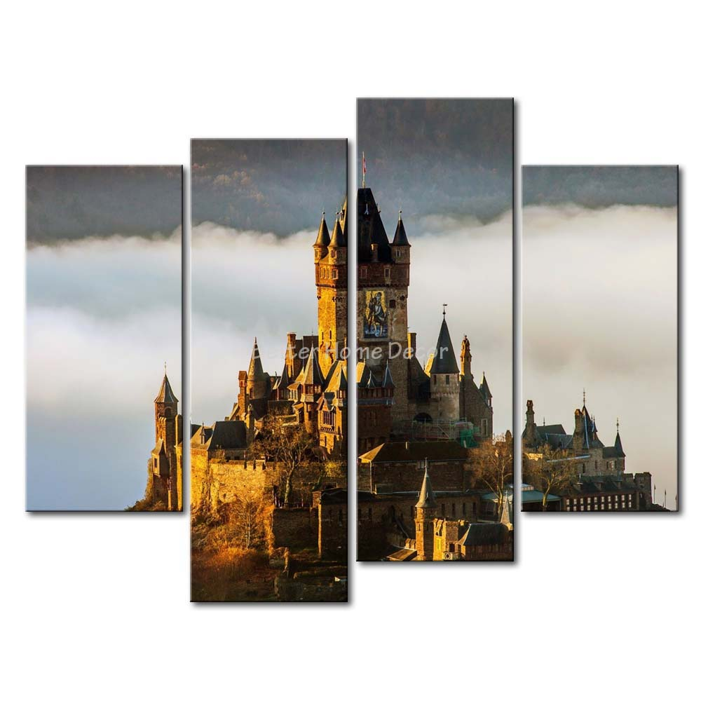 3 Piece Wall Art Painting Reichsburg Cochem On The Top Of Mountain Germany Print On Canvas The Picture City 4 5 Pictures(China (Mainland))