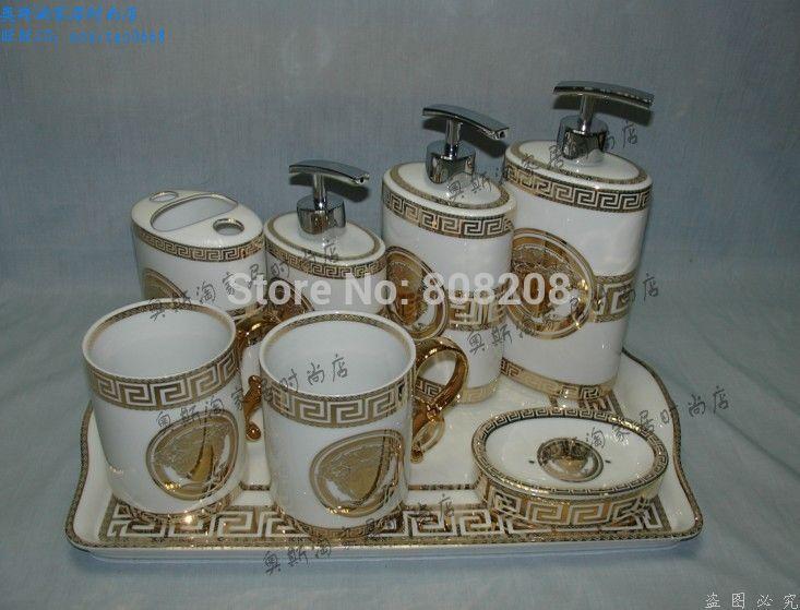 الشحن مجانا الحمام السيراميك حمام 8 مجموعات العالية الأوروبية-- الصف علبة ذهبية فاخرة(China (Mainland))