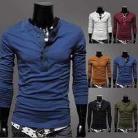 2015 New men's long sleeve T-shirt Pure color men long sleeve T-shirt men casual shirt render unlined upper garment