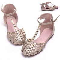 2014 child sandals toe cap covering leather sandals large princess flat girls Pierced summer shoes roman rivet sandals