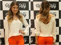 Aliexpress explosion of women's 2014 European fashion sexy white long sleeved chiffon blouse Halter autumn
