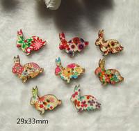 Wholesale -  Cartoon  flrower Easter Bunny rabbit button DIY SEWING Craft supplies 29x33mm