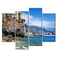 3 Piece Blue Wall Art Painting Cinque Terre Mountain Clear Water House Picture Print On Canvas Seascape 4 5 The Picture