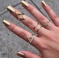 New design 5pcs set stacking ring geometry midi ring with crystal women rings