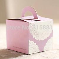 Purple lace Pink Hand Cake Box,Wedding Favor Cake Box,Gift Packaging Box