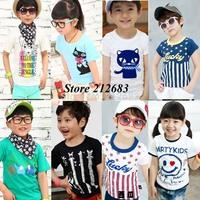 otton 2015 summer children t-shirt child tops tees kids clothes boys blouse girls short sleeve t shirt  cartoon lianm