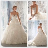 Free shipping -Elegant Handmade Flower Organza Ruffle Wedding Dresses 2015 New Fashion Backless Organza Women Bridal Gowns High