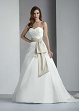 Hot sale a linha de tafetá do vestido de casamento 2014 novo design de cetim belt bola vestidos ruched vestido de noiva plissado da China fábrica chinesa(China (Mainland))
