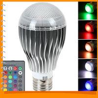 E27 9W 120 Degree RGB LED Bulb AC 85-265V RGB LED Lamp 16 Colors Remote Control Changeable LED Bulb Light + Remote Control