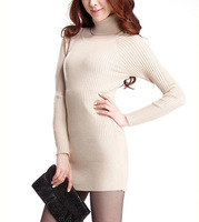 The new autumn and winter 2014 women's sweater bottoming Korean Slim hedging long section thick turtleneck sweater coat