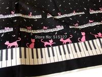 50cm*110cm Japanese KOKKA DIY Patchwork Fabric Quilting Cloth Linen Cotton Fabric  Piano kitten