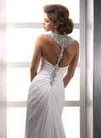 Real Sample Sexy Crystal Beaded Halter Racer Back Chiffon Destination Wedding Dress with Front Slit Free Shipping