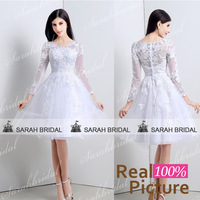 white lace wedding dresses with long sleeves 2015 Real sample Button sexy Short wedding gowns Knee-Length vestido de casamento