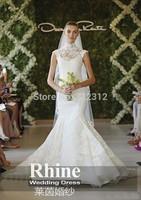 Rhine 2015 Graceful High Neck Applique Mermaid Wedding Dresses Cap Sleeve Sweep Train Ruffles Wedding Gowns