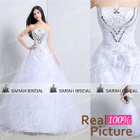 Luxury Crystal wedding dresses with Long Trains 2015 Real sample inexpensive Ball Gown Wedding Gowns White vestido de casamento
