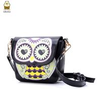 Freeshipping dropshipping high quality Small bag female cartoon owl print one shoulder cross-body 2015 autumn women's handbag