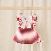 2015 New,baby girls fashion striped dress,children summer dress,cotton,bow,red/blue,5 pcs/lot,wholesale,2079