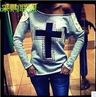 2014 Fashion Europe Rhinestone printing rivet Cross hand-beaded long sleeve Sweatshirts Free shipping