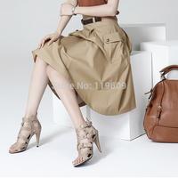 Women Casual Medium Skirt Female Spring Professional A-Line Skirts Mid Waist Pockets Princess Skirts Black, Khaki Skirt