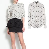 European ZAR* and the new girl Orange Panther Head Merchandiser casual lapel long sleeve shirt