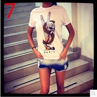 2015 Creative personality stretch cotton T shirt, O-neck short sleeve printing T-shirts good quality Free shipping