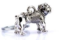 For MINI Cooper Bulldog Bull Dog Keychain Key Chain Silver