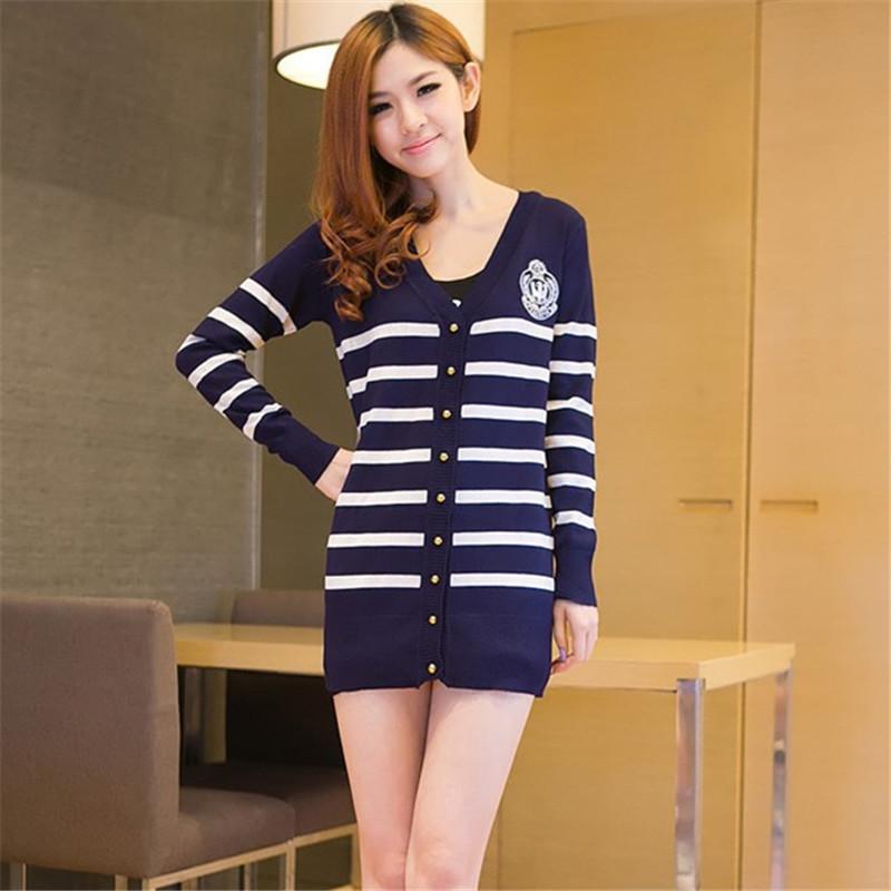 2015 da marca internacional cardigan em roupas femininas academia Naval suéter listrado casual clássico longo de malha blusas(China (Mainland))