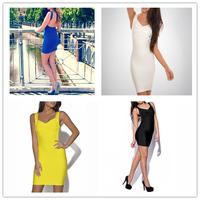 Size S M L XL Pure Color 2015 New Women Bandage Mini Dress Sexy Party Clubwear Backelss V Neck Slim Bodycon Sheath Dresse Hot